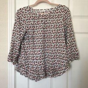 Gap white and red floral blouse